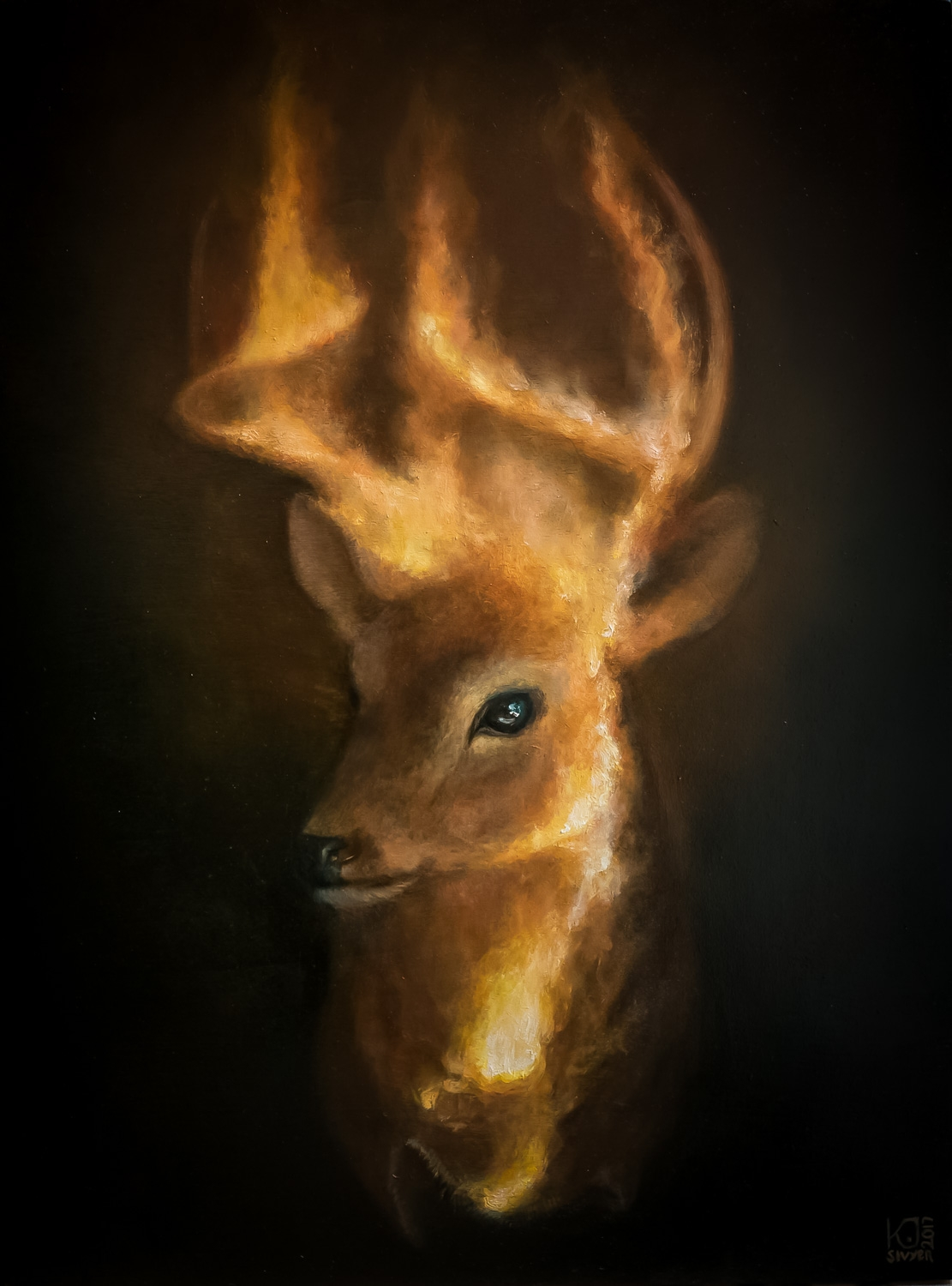 burning deer head kirsten sivyer oil painting