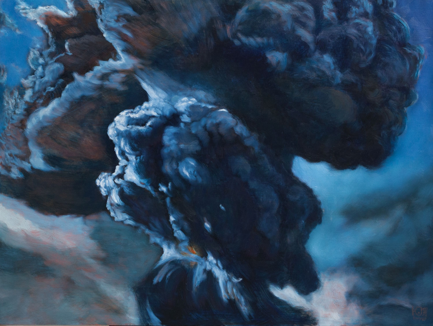 Kirsten Sivyer Fine Art oil painting volcanic cloud blue