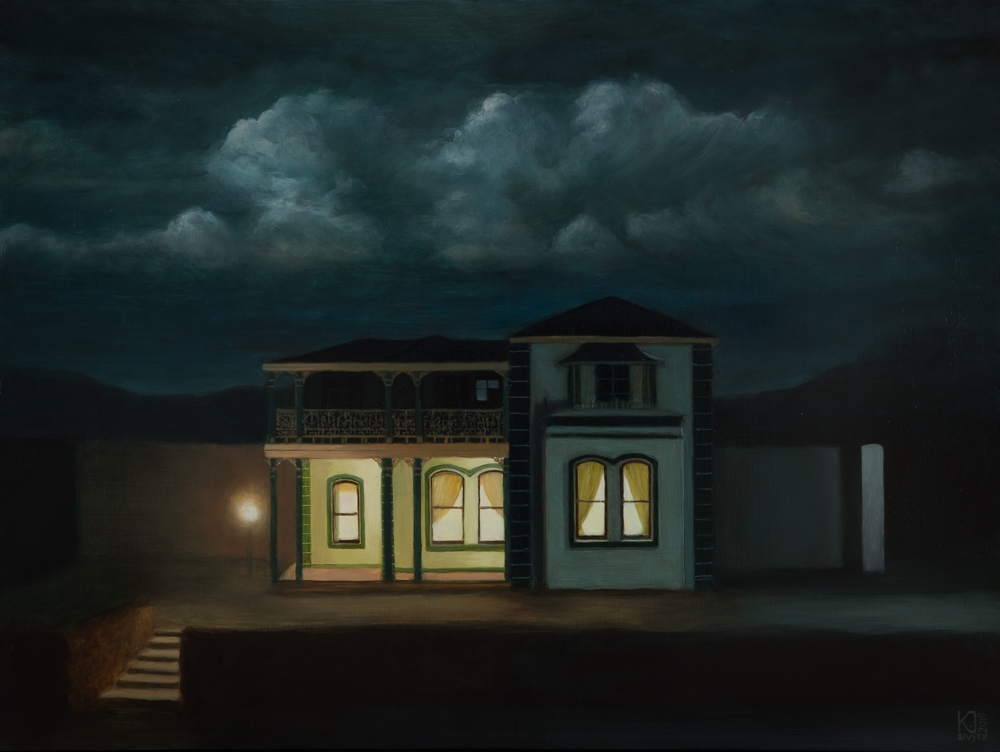 oil painting building at night nocturne Australian artist Kirsten Sivyer