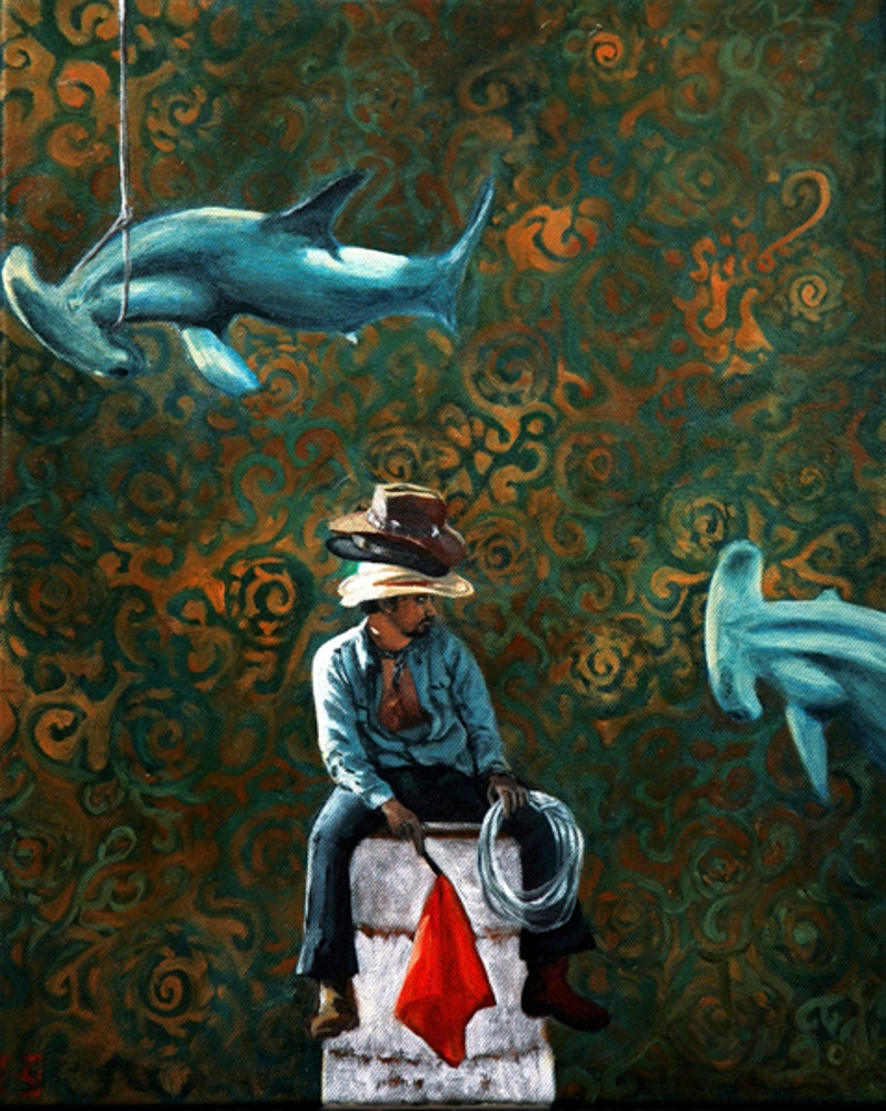 Surrealist oil painting hammerhead sharks cowboy hats Kirsten Sivyer Art