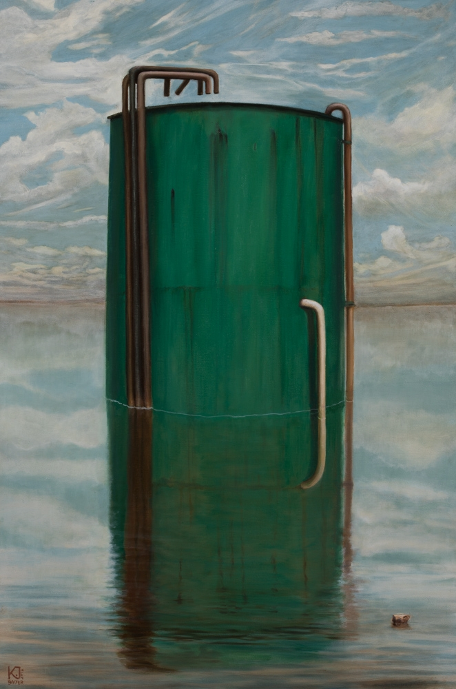 Kirsten Sivyer Fine Art oil painting Kalgoorlie landscape green water tank flood